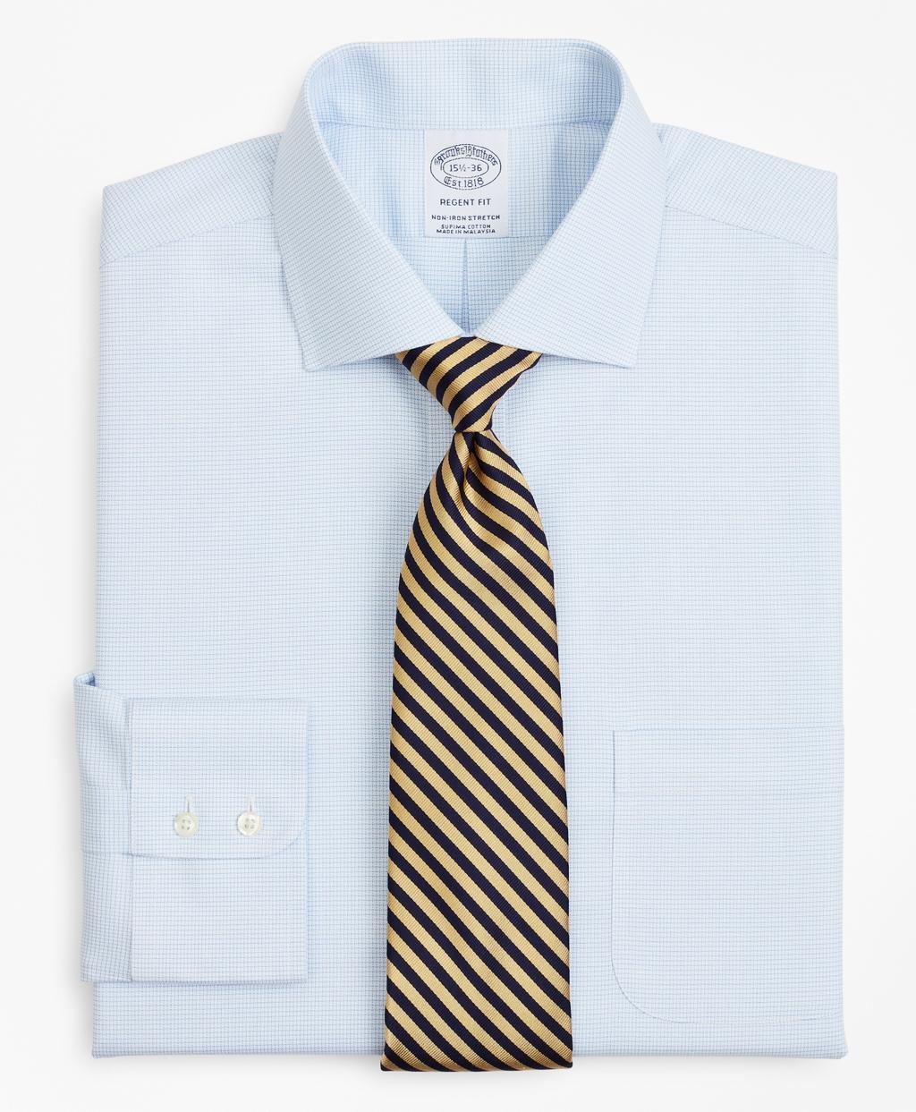 Brooksbrothers Stretch Regent Regular-Fit Dress Shirt, Non-Iron Twill English Collar Micro-Check