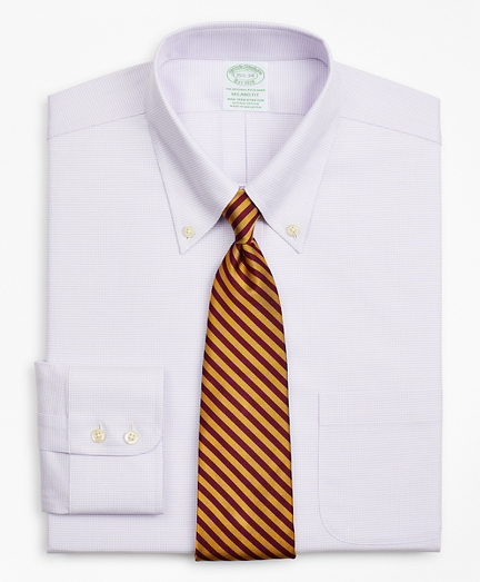 Stretch Milano Slim-Fit Dress Shirt, Non-Iron Twill Button-Down Collar Micro-Check