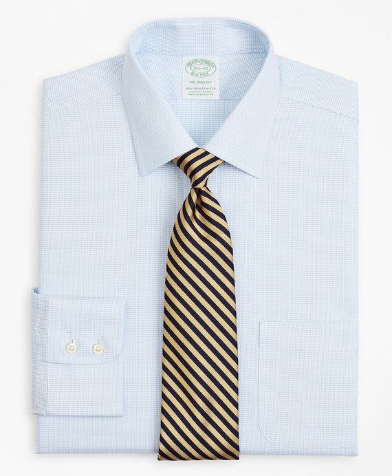 Stretch Milano Slim-Fit Dress Shirt, Non-Iron Twill Ainsley Collar Micro-Check Light Blue
