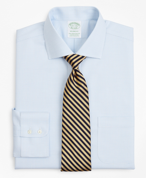 Stretch Milano Slim-Fit Dress Shirt, Non-Iron Twill English Collar Micro-Check Light Blue