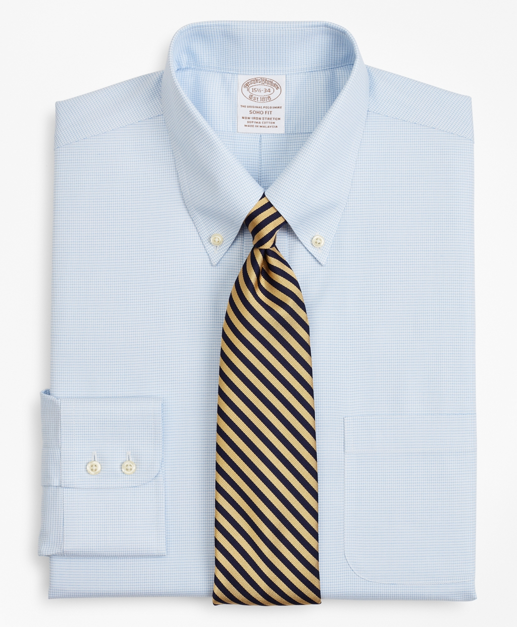 Brooksbrothers Stretch Soho Extra-Slim-Fit Dress Shirt, Non-Iron Twill Button-Down Collar Micro-Check