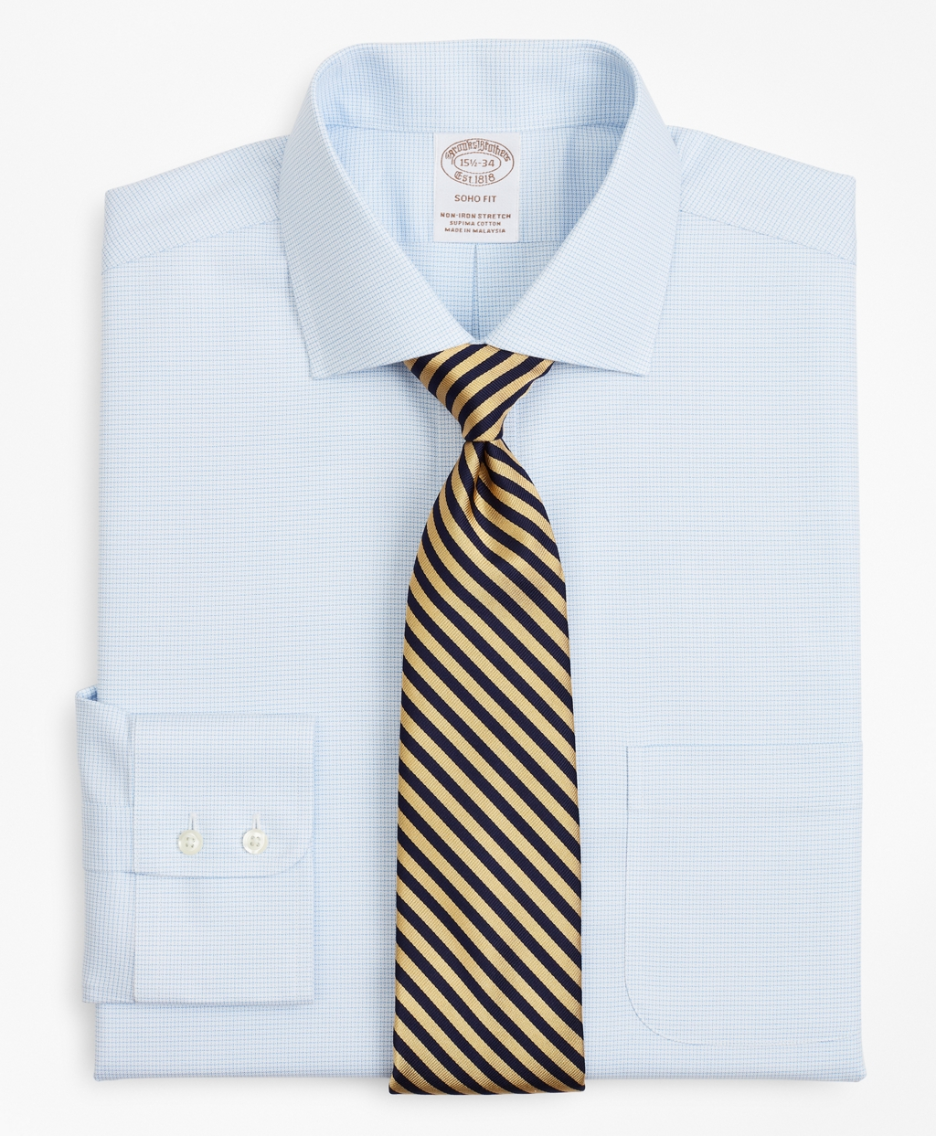 Brooksbrothers Stretch Soho Extra-Slim-Fit Dress Shirt, Non-Iron Twill English Collar Micro-Check