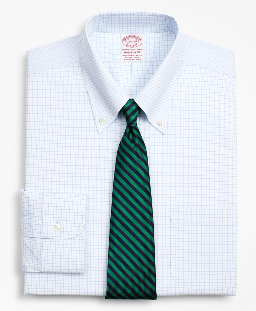 Brooksbrothers Stretch Madison Relaxed-Fit Dress Shirt, Non-Iron Poplin Button-Down Collar Small Grid Check