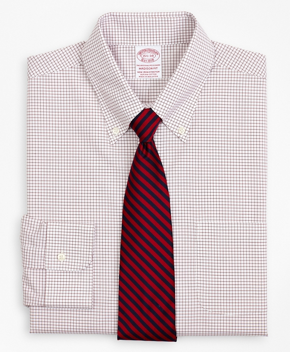 Stretch Madison Relaxed-Fit Dress Shirt, Non-Iron Poplin Button-Down Collar Small Grid Check Red