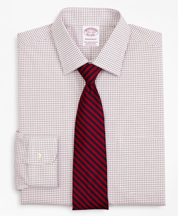 Stretch Madison Relaxed-Fit Dress Shirt, Non-Iron Poplin Ainsley Collar Small Grid Check Red