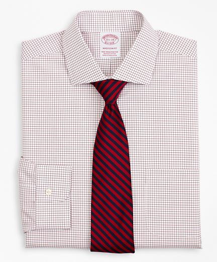 Stretch Madison Classic-Fit Dress Shirt, Non-Iron Poplin English Collar Small Grid Check