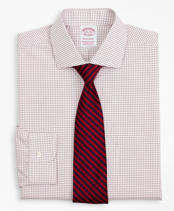Stretch Madison Relaxed-Fit Dress Shirt, Non-Iron Poplin English Collar Small Grid Check Red