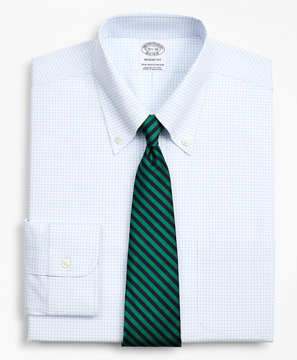 Stretch Regent Fitted Dress Shirt, Non-Iron Poplin Button-Down Collar Small Grid Check