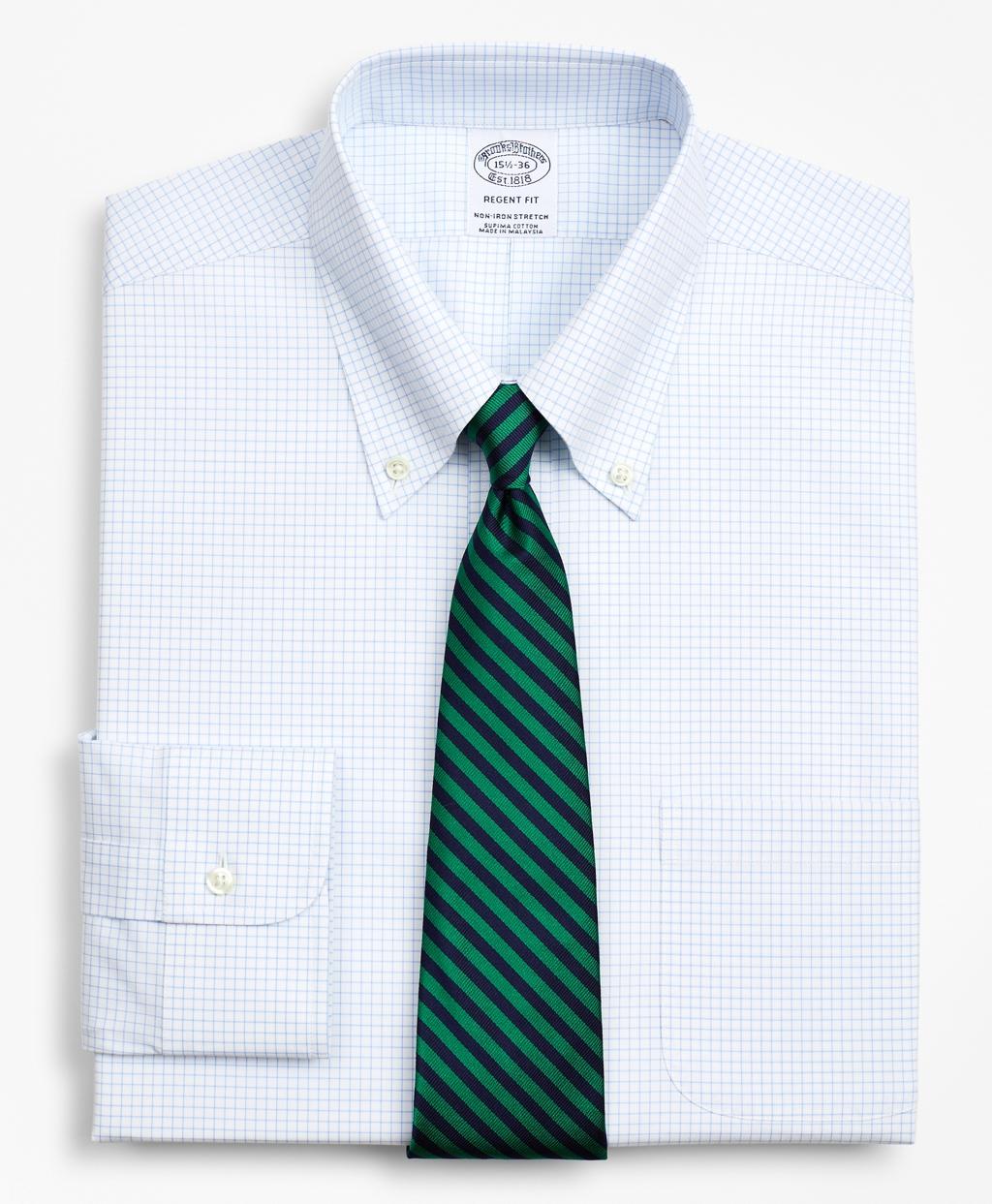 Brooksbrothers Stretch Regent Regular-Fit Dress Shirt, Non-Iron Poplin Button-Down Collar Small Grid Check