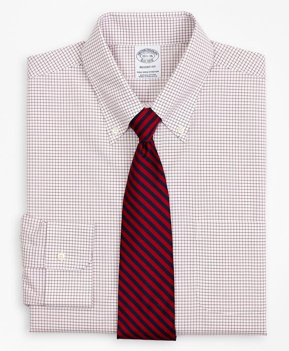 Stretch Regent Regular-Fit Dress Shirt, Non-Iron Poplin Button-Down Collar Small Grid Check Red