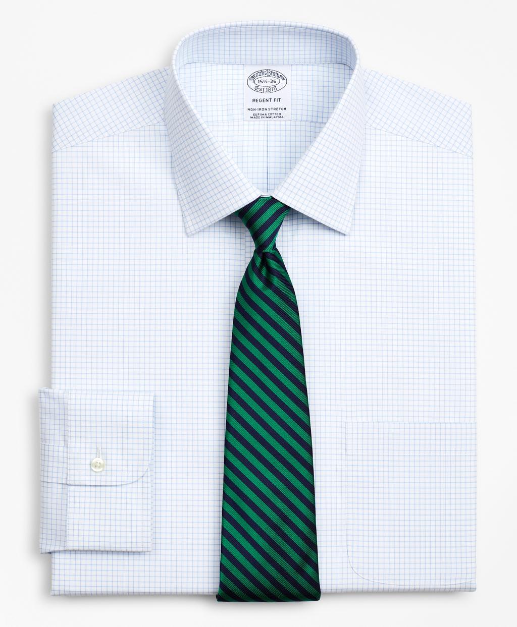 Brooksbrothers Stretch Regent Regular-Fit Dress Shirt, Non-Iron Poplin Ainsley Collar Small Grid Check