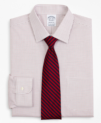 Stretch Regent Fitted Dress Shirt, Non-Iron Poplin Ainsley Collar Small Grid Check