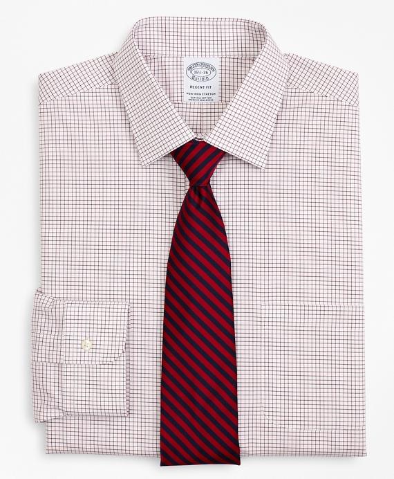 Stretch Regent Regular-Fit Dress Shirt, Non-Iron Poplin Ainsley Collar Small Grid Check Red
