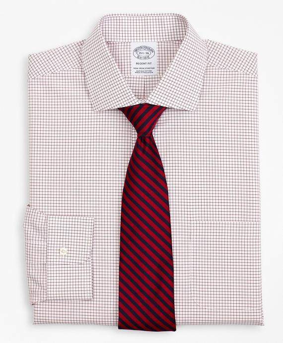 Stretch Regent Regular-Fit Dress Shirt, Non-Iron Poplin English Collar Small Grid Check Red