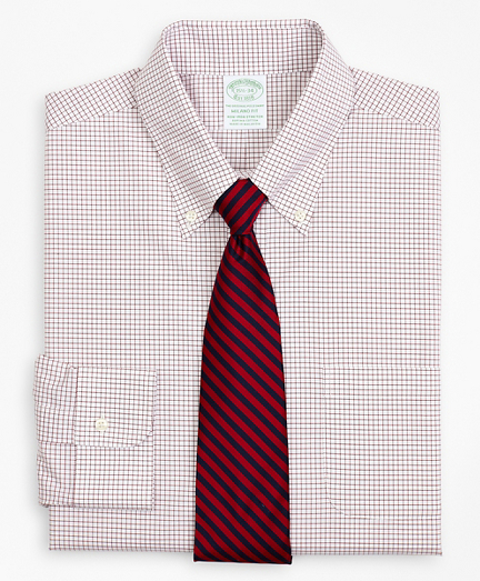 Stretch Milano Slim-Fit Dress Shirt, Non-Iron Poplin Button-Down Collar Small Grid Check