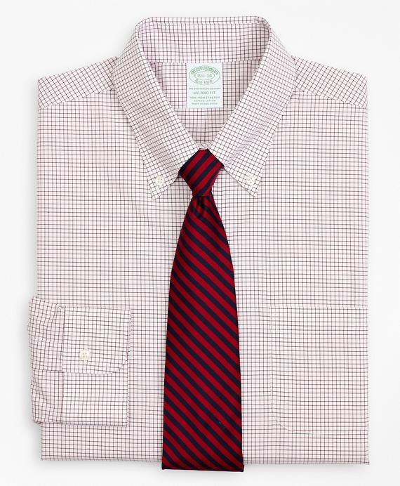 Stretch Milano Slim-Fit Dress Shirt, Non-Iron Poplin Button-Down Collar Small Grid Check Red