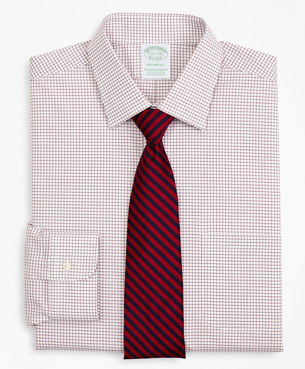 Stretch Milano Slim-Fit Dress Shirt, Non-Iron Poplin Ainsley Collar Small Grid Check
