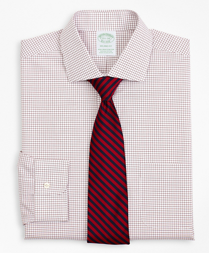 Stretch Milano Slim-Fit Dress Shirt, Non-Iron Poplin English Collar Small Grid Check
