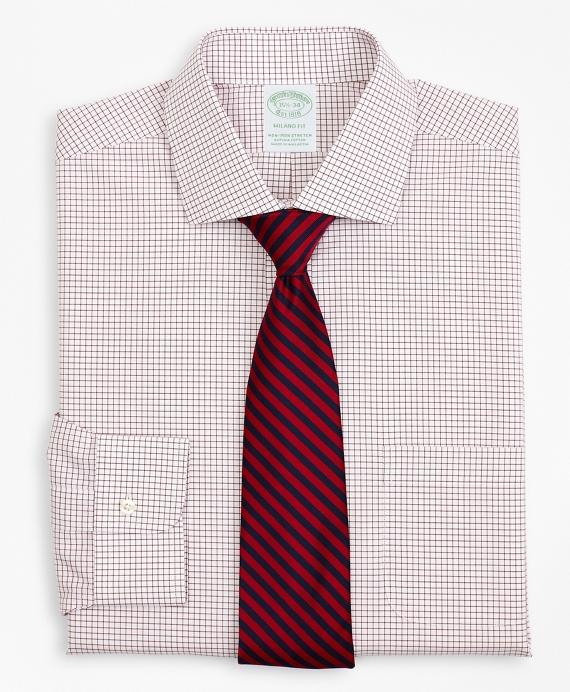Stretch Milano Slim-Fit Dress Shirt, Non-Iron Poplin English Collar Small Grid Check Red