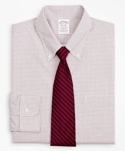 Stretch Soho Extra-Slim-Fit Dress Shirt, Non-Iron Poplin Button-Down Collar Small Grid Check