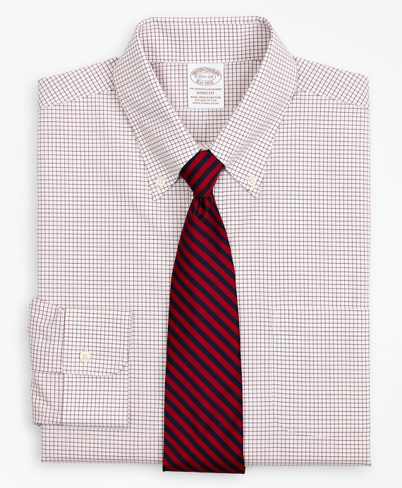 Stretch Soho Extra-Slim-Fit Dress Shirt, Non-Iron Poplin Button-Down Collar Small Grid Check Red