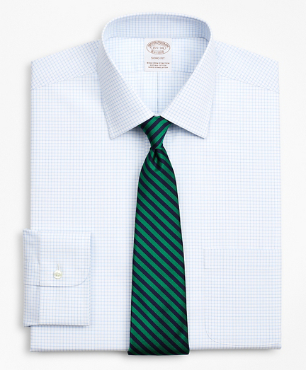 Stretch Soho Extra-Slim-Fit Dress Shirt, Non-Iron Poplin Ainsley Collar Small Grid Check