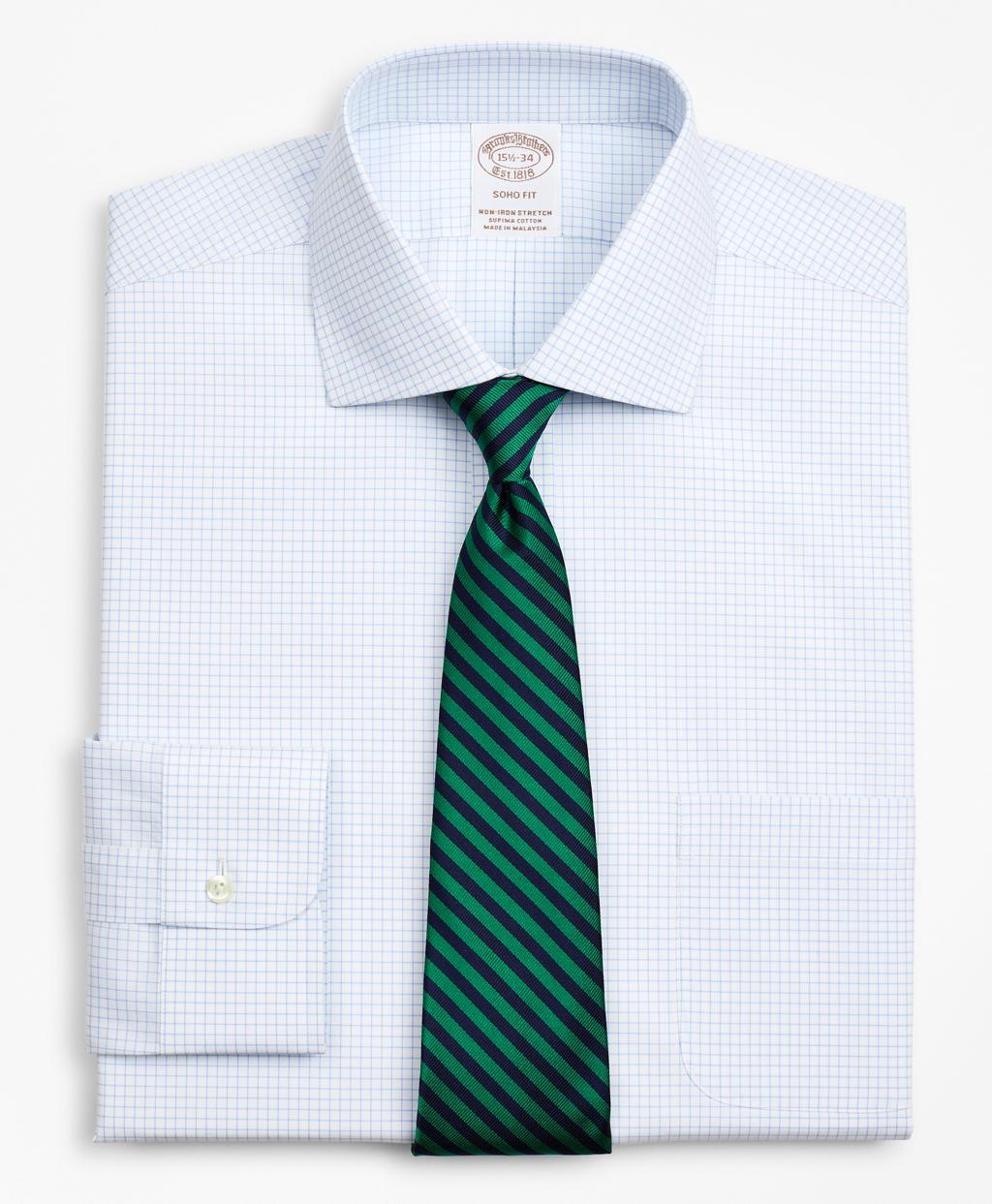 Brooksbrothers Stretch Soho Extra-Slim-Fit Dress Shirt, Non-Iron Poplin English Collar Small Grid Check