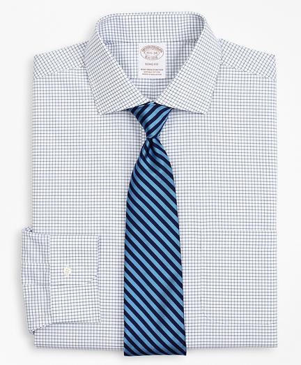 Stretch Soho Extra-Slim-Fit Dress Shirt, Non-Iron Poplin English Collar Small Grid Check