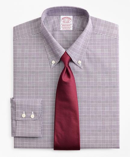 Stretch Madison Classic-Fit Dress Shirt, Non-Iron Royal Oxford Button-Down Collar Glen Plaid