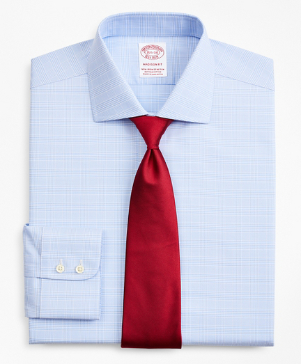Stretch Madison Classic-Fit Dress Shirt, Non-Iron Royal Oxford English Collar Glen Plaid