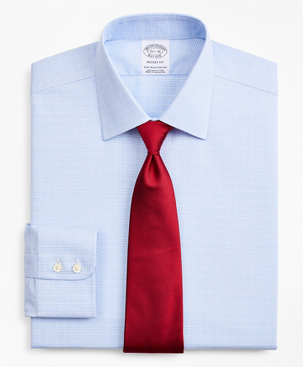 Stretch Regent Fitted Dress Shirt, Non-Iron Royal Oxford Ainsley Collar Glen Plaid