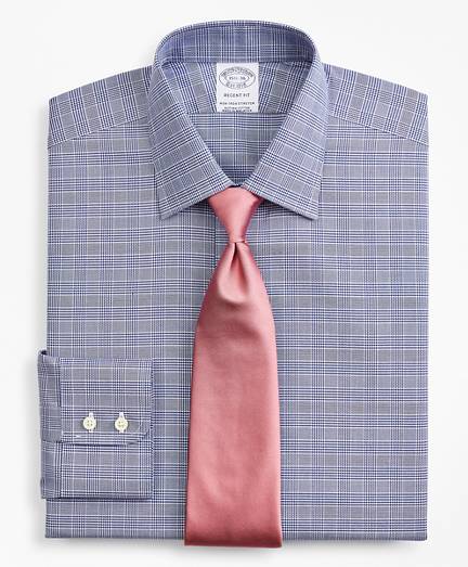 Brooksbrothers Stretch Regent Fitted Dress Shirt, Non-Iron Royal Oxford Ainsley Collar Glen Plaid