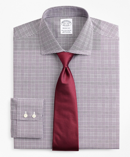 Stretch Regent Fitted Dress Shirt, Non-Iron Royal Oxford English Collar Glen Plaid