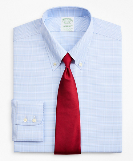 Stretch Milano Slim-Fit Dress Shirt, Non-Iron Royal Oxford Button-Down Collar Glen Plaid