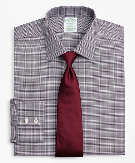 Stretch Milano Slim-Fit Dress Shirt, Non-Iron Royal Oxford Ainsley Collar Glen Plaid
