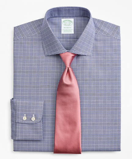 Stretch Milano Slim-Fit Dress Shirt, Non-Iron Royal Oxford English Collar Glen Plaid