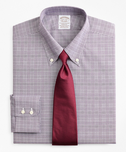Stretch Soho Extra-Slim-Fit Dress Shirt, Non-Iron Royal Oxford Button-Down Collar Glen Plaid