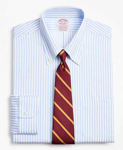 Stretch Madison Relaxed-Fit Dress Shirt, Non-Iron Twill Button-Down Collar Bold Stripe