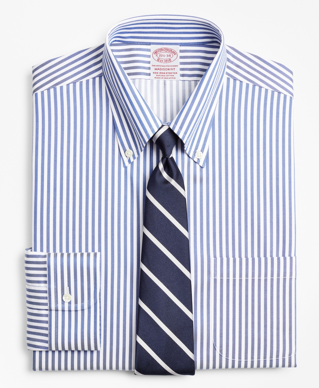 1930s Men's Fashion Guide- What Did Men Wear? Brooks Brothers Mens Stretch Regular Classic-Fit Dress Shirt Non-Iron Twill Button-Down Collar Bold Stripe $79.80 AT vintagedancer.com