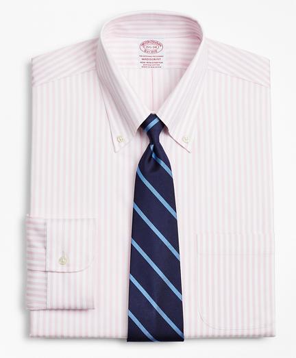 Stretch Madison Classic-Fit Dress Shirt, Non-Iron Twill Button-Down Collar Bold Stripe