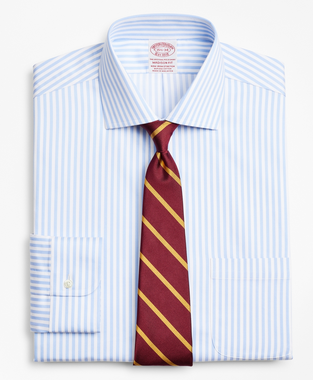 Brooksbrothers Stretch Madison Relaxed-Fit Dress Shirt, Non-Iron Twill English Collar Bold Stripe