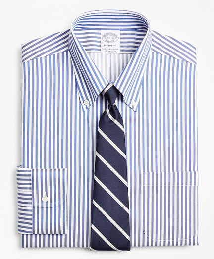 Stretch Regent Fitted Dress Shirt, Non-Iron Twill Button-Down Collar Bold Stripe