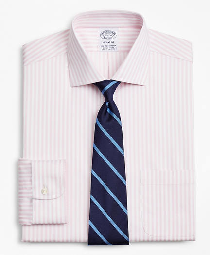 Stretch Regent Regular-Fit Dress Shirt, Non-Iron Twill English Collar Bold Stripe