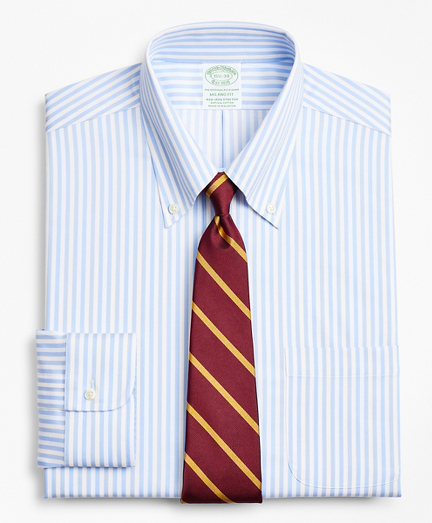 Stretch Milano Slim-Fit Dress Shirt, Non-Iron Twill Button-Down Collar Bold Stripe