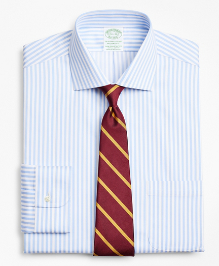 Stretch Milano Slim-Fit Dress Shirt, Non-Iron Twill English Collar Bold Stripe