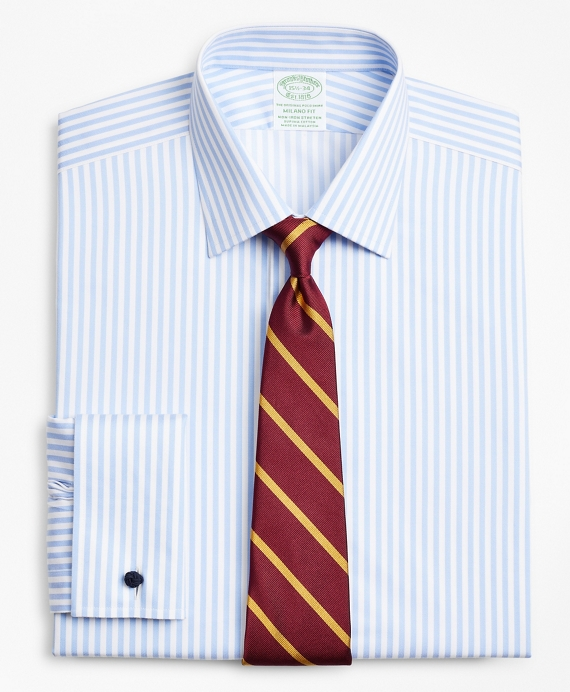 Stretch Milano Slim-Fit Dress Shirt, Non-Iron Twill Ainsley Collar French Cuff Bold Stripe Light Blue