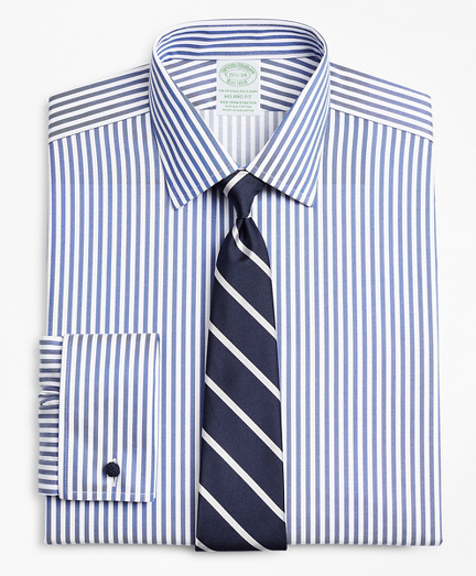Stretch Milano Slim-Fit Dress Shirt, Non-Iron Twill Ainsley Collar French Cuff Bold Stripe