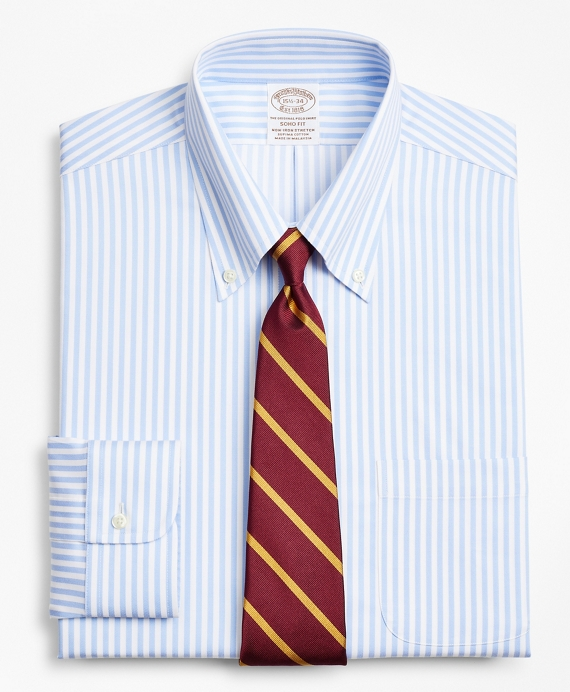 Stretch Soho Extra-Slim-Fit Dress Shirt, Non-Iron Twill Button-Down Collar Bold Stripe Light Blue