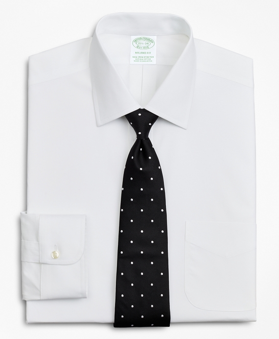 Stretch Milano Slim-Fit Dress Shirt, Non-Iron Poplin Ainsley Collar White
