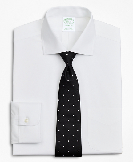 Stretch Milano Slim-Fit Dress Shirt, Non-Iron Poplin English Collar